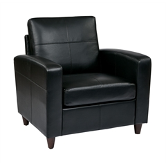 Office Star Black Eco Leather Club Chair with Espresso Finish Legs