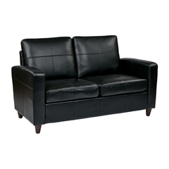 Office Star Black Eco Leather Loveseat with Espresso Finish Legs