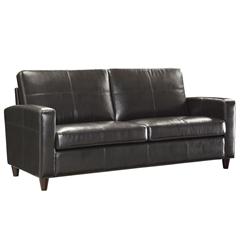 Office Star Espresso Eco Leather Sofa with Espresso Finish Legs