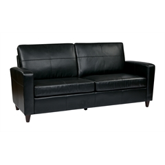 Office Star Black Eco Leather Sofa with Espresso Finish Legs