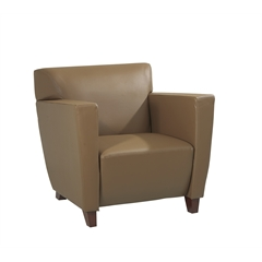 Office Star Taupe Leather Club Chair with Cherry Finish. Shipped Assembled with Legs Unmounted. Rated for 300 lbs. of distributed weight.