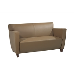 Office Star Taupe Leather Love Seat with Cherry Finish. Shipped Assembled with Legs Unmounted. Rated for 500 lbs. of distributed weight.