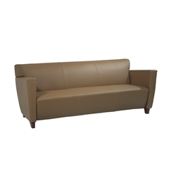 Office Star Taupe Leather Sofa with Cherry Finish. Shipped Assembled with Legs Unmounted. Rated for 675 lbs. of distributed weight.