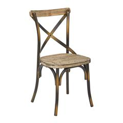 Somerset X-Back Antique Copper Metal Chair with Hardwood Vintage Walnut seat Finish