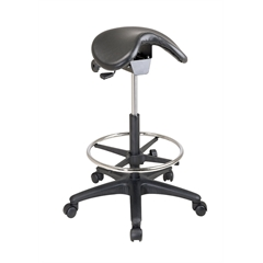 Office Star Backless Stool with Saddle Seat, Dual Wheel Carpet Casters, Nylon Base and Seat Angle Adjustment