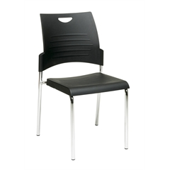 Office Star Straight Leg Stack Chair with Plastic Seat and Back. Black. 4 Pack.