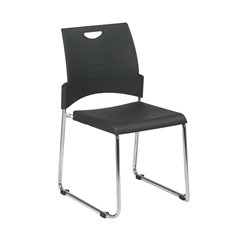Office Star Sled Base Stack Chair with Plastic Seat and Back. Black. 2-Pack.