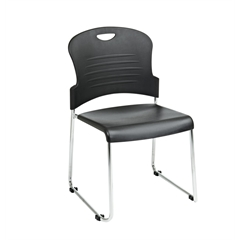 Office Star Burgundy Stack Chair with Sled Base with Plastic Seat and Back. Black. 4 Pack.