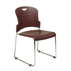 Office Star Black Stack Chair with Sled Base with Plastic Seat and Back. Burgundy. 2-Pack.