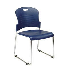 Office Star Navy Stack Chair with Sled Base with Plastic Seat and Back. Navy. 4 Pack.