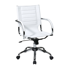 Office Star Trinidad Office Chair With Fixed Padded Arms and Chrome Finish in White
