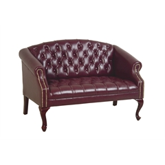 Office Star Queen Ann Traditional Ox Blood Love Seat