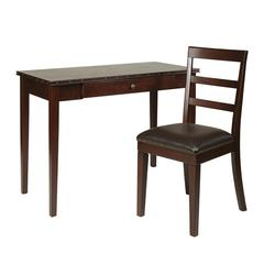 "Tucson 42"" Desk and Chair Combo with Nail Head Accents in Dark Espresso"