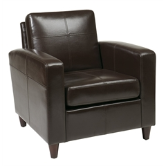 Office Star Venus Club Chair (Tool-Less Assembly) in Espresso Eco Leather