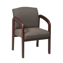 Office Star Cherry Finish Wood Visitor Chair with Taupe fabric