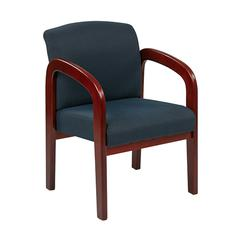 Cherry Finish Wood Visitor Chair with Mid Blue Fabric