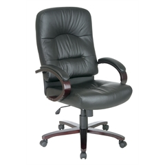 Office Star Executive Eco Leather High Back Chair with Mahogany Finish and Wood Base and Arms