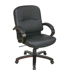 Office Star Eco Leather Mid Back Chair with Espresso Finish Wood Base and Padded Arms