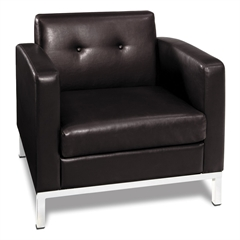 Office Star Wall Street Arm Chair in Espresso Faux Leather