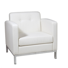 Office Star Wall Street Arm Chair in White Faux Leather