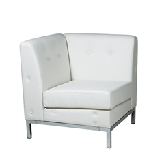 Office Star Wall Street Corner Chair in White Faux Leather