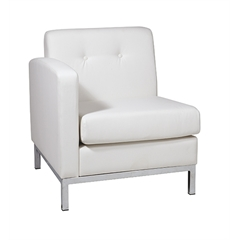Office Star Wall Street Arm Chair LAF in White Faux Leather