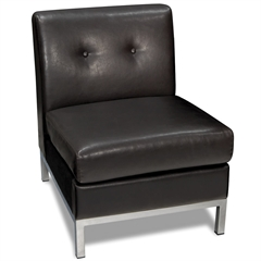 Office Star Wall Street Armless Chair in Espresso Faux Leather