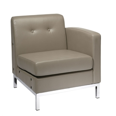 Office Star Wall Street Arm Chair RAF in Smoke Faux Leather