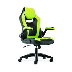 basyx by HON Racing Gaming Computer Chair- Flip-Up Arms, Black and Green
