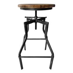 Amelia Industrial Adjustable Barstool in Silver Brushed Gray with Rustic Ash Wood Seat