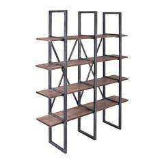 Athens Industrial Bookshelf in Silver Brushed Gray with Rustic Pine Wood Shelves