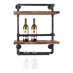Cabo Industrial Floating Silver Brushed Gray Pipe Wall Shelf with Walnut Wood