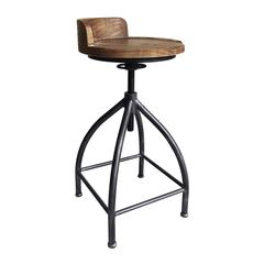 Fuchsia Industrial Adjustable Metal Barstool in Silver Brushed Gray with Brown Wood Seat