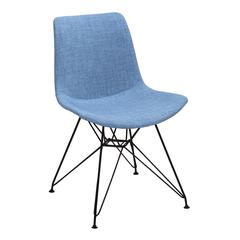 Pyramid Modern Dining Chair in Black Painted Chrome with Farmer Blue Fabric