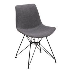 Pyramid Modern Dining Chair in Black Painted Chrome with Charcoal Fabric