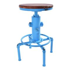 Starship Industrial Backless Adjustable Barstool in Antique Blue and Rustic Ash Wood Seat