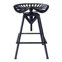 Tractor Industrial Backless Adjustable Barstool in Copper Brushed Gray