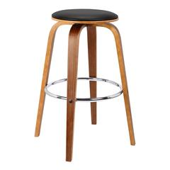 Brussel Mid-Century Backless Swivel Wood Barstool in Walnut with Black Faux Leather