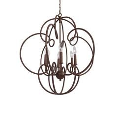 Sofia Round Antique Rust Finish Candle Style Chandelier