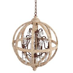 Guinevere Round Antique Brass and White Wood  Candle Style Chandelier