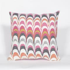 """Liora Manne Visions III Floating Ink Indoor/Outdoor Pillow Pink 20"""" Square"""