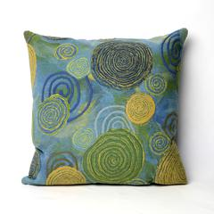 """Liora Manne Visions III Graffiti Swirl Indoor/Outdoor Pillow Blue 20"""" Square"""