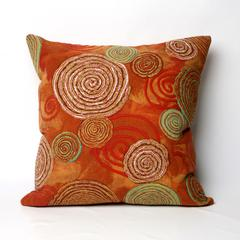 """Liora Manne Visions III Graffiti Swirl Indoor/Outdoor Pillow Red 20"""" Square"""