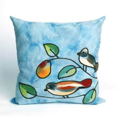 """Liora Manne Visions III Song Birds Indoor/Outdoor Pillow Blue 20"""" Square"""