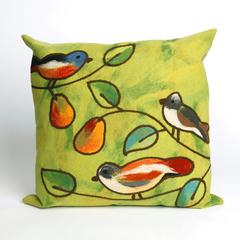 """Liora Manne Visions III Song Birds Indoor/Outdoor Pillow Green 20"""" Square"""