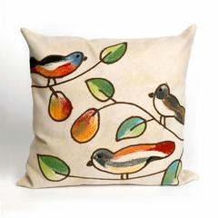 """Liora Manne Visions III Song Birds Indoor/Outdoor Pillow Ivory 20"""" Square"""