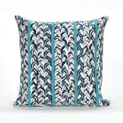 """Liora Manne Visions III Braided Stripe Indoor/Outdoor Pillow Blue 20"""" Square"""
