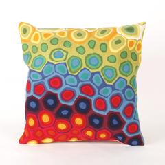 """Liora Manne Visions III Pop Swirl Indoor/Outdoor Pillow Red 20"""" Square"""