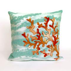 """Liora Manne Visions III Coral Wave Indoor/Outdoor Pillow Blue 20"""" Square"""