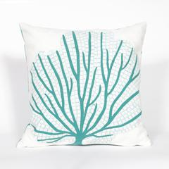 """Liora Manne Visions III Coral Fan Indoor/Outdoor Pillow Blue 20"""" Square"""